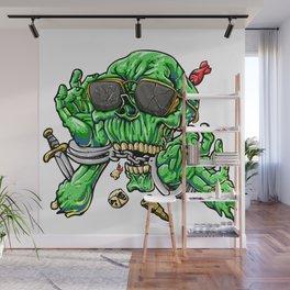 handcuffed zombie cartoon Wall Mural