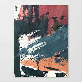 Thrive: a colorful, vibrant, abstract mixed media print in blues, red, orange, and white Canvas Print