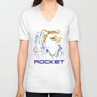 rocket V-neck T-shirts featuring Rocket by offbeatzombie