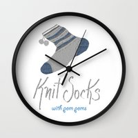 socks Wall Clocks featuring Knit Socks by KarenHarveyCox
