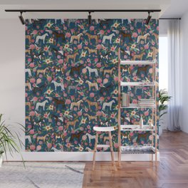 Horse Florals - navy Wall Mural