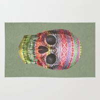 navajo Area & Throw Rugs featuring Navajo Skull  by Terry Fan