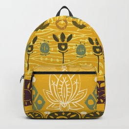 lotus block vintage gold Backpack