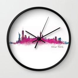 New York NYC City Skyline v05 Pink Violet Wall Clock