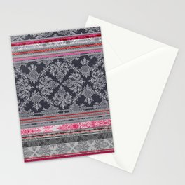 Burgundy, Pink, Navy & Grey Vintage Bohemian Wallpaper Stationery Cards