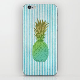 Gold and blue pineapple over blue strips iPhone Skin