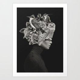 Lady with Birds(portrait) Art Print