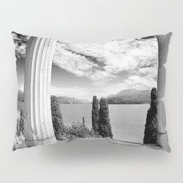 Roman Ruins, Garda, Sirmione, Italy landscape coastal black and white photograph / art photography  Pillow Sham