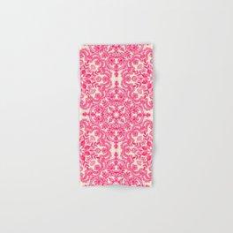 Hot Pink & Soft Cream Folk Art Pattern Hand & Bath Towel