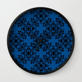 Vintage Brocade Damask Lapis Blue Wall Clock