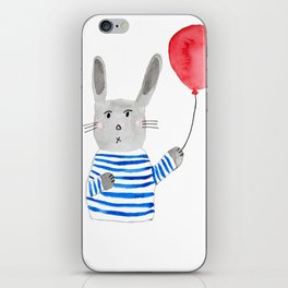 Bunny holding a red balloon iPhone Skin