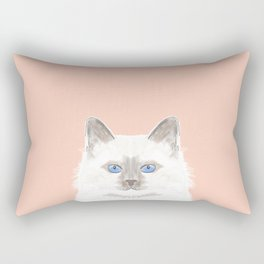 Roxie - White Birman Cat, Cute Kitten, White Cat Blue Eyes, Cell Phone Case, Cat Lady Gift Rectangular Pillow