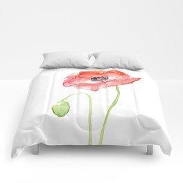 Red Poppy Flower Flowers Comforters