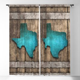 Texas Wooden Boards (Blue) Blackout Curtain