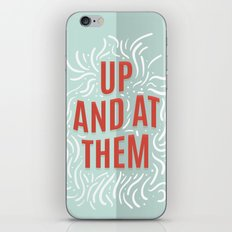 Up And At Them - red, mint green, and ivory iPhone Skin