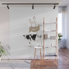 Four Stacked Farm Animals Wall Mural