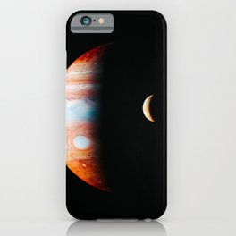 Jupiter And Its Volcanic Moon Io, Galaxy Background, Universe Large Print, Space Wall Art Decor iPhone Case