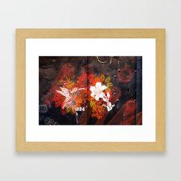 Hummingbird and flower graffiti Framed Art Print