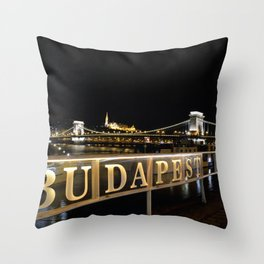 Széchenyi Chain bridge over Danube river, Budapest, Hungary. Throw Pillow