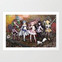 madoka Art Prints featuring Madoka by drawn4fans