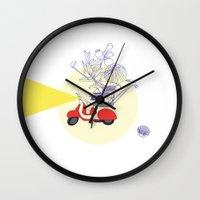 motorbike Wall Clocks featuring Red motorbike by Yyemin K.