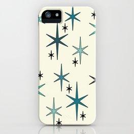 Mid Century Modern Star Sky Turquoise iPhone Case