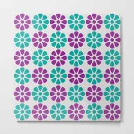 Teal and purple floral pattern Metal Print