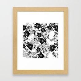Modern black white hand drawn floral illustration Framed Art Print