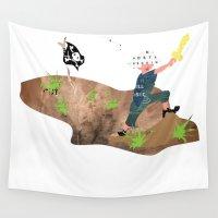 pirate Wall Tapestries featuring Pirate by Design4u Studio