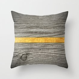 Cutted wood and gold Throw Pillow