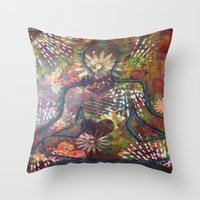 namaste Throw Pillows featuring Namaste by Tiffany Alcide