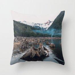 A Stumpy Morning - British Columbia, Canada Throw Pillow