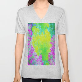 Vivid Yellow and Pink Abstract Garden Foliage Unisex V-Neck