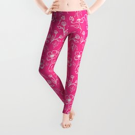 08 Small Flowers on Pink Leggings
