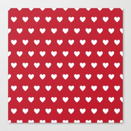 Polka Dot Hearts - red and white Canvas Print