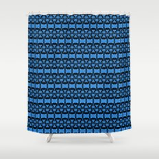 Dividers 02 in Blue over Black Shower Curtain
