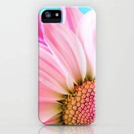 Beautiful Pink Flower Macro, Turquoise Blue Backdrop iPhone Case