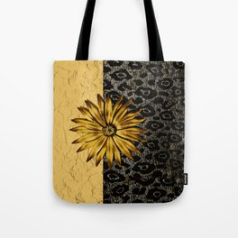 ANIMAL PRINT BLACK AND GOLD FLOWER MEDALLION Tote Bag