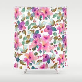 Pink and purplre florals. Watercolor flowers Shower Curtain