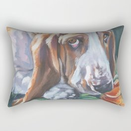 Beautiful Basset Hound dog portrait art an original painting by L.A.Shepard Rectangular Pillow