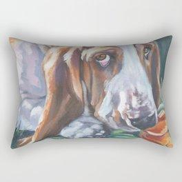 Beautiful Basset Hound dog portrait art an original painting by L.A.Shepard Rectangular Pillow