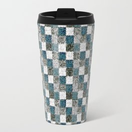 Rustic Gray Turquoise Green Beige Patchwork Travel Mug