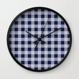 Flannel Plaid Check Navy Blue Wall Clock