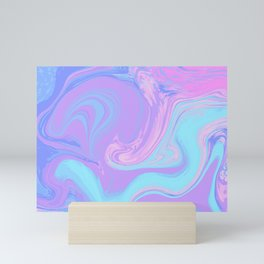 Blue Purple Liquid Marble Mini Art Print