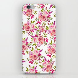 Elegant pink coral green watercolor roses pattern iPhone Skin