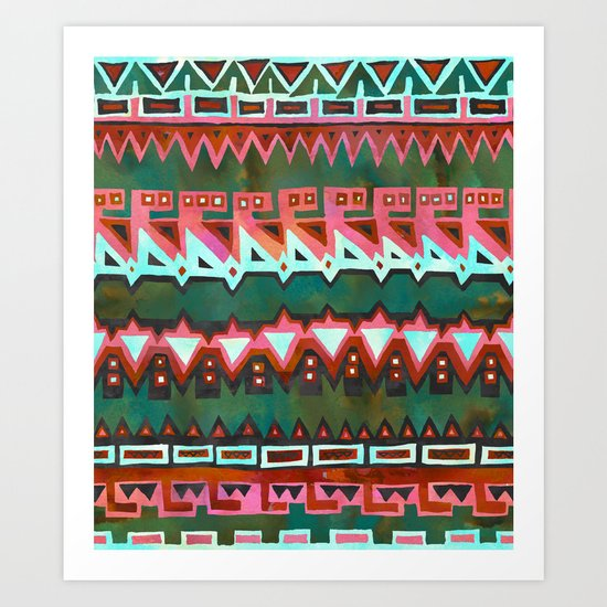 AZTEC STRIPE - Green Art Print