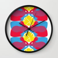 rabbits Wall Clocks featuring Rabbits by aquamarine