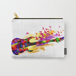 Colorful music instruments painting, abstract acoustic guitar with flying birds. Pop-art, digital. Carry-All Pouch