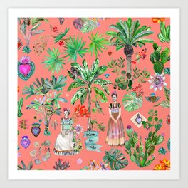 Frida's Coral Garden Art Print