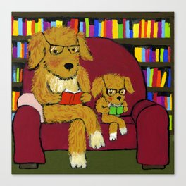 Reading dogs Canvas Print